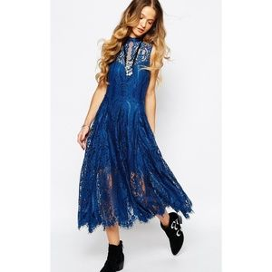 FP Angel Rays Midi Dress Sapphire Lace Crochet L